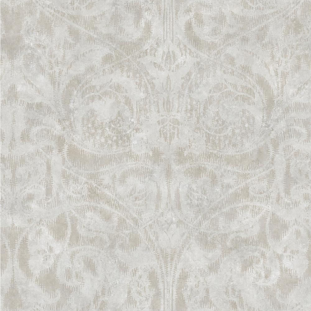Amity Wheat Bleeding Heart Scroll Wallpaper Sample