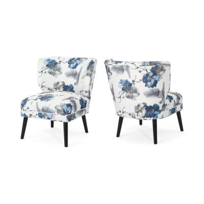 Desdemona Contemporary Blue and Black Floral Fabric Accent Chairs (Set of 2)