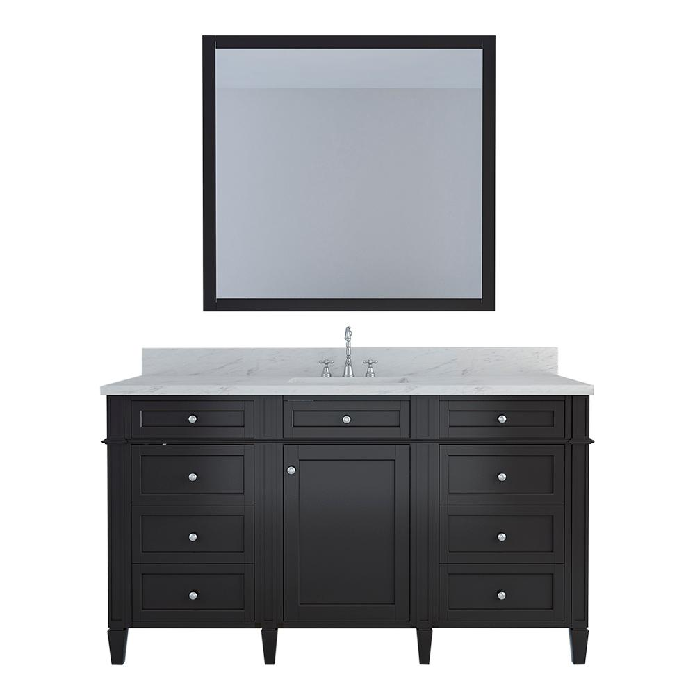 Birmingham 60 in. W x 22 in. D Bath Vanity in Espresso with Marble Vanity Top in White with White Basin and Mirror