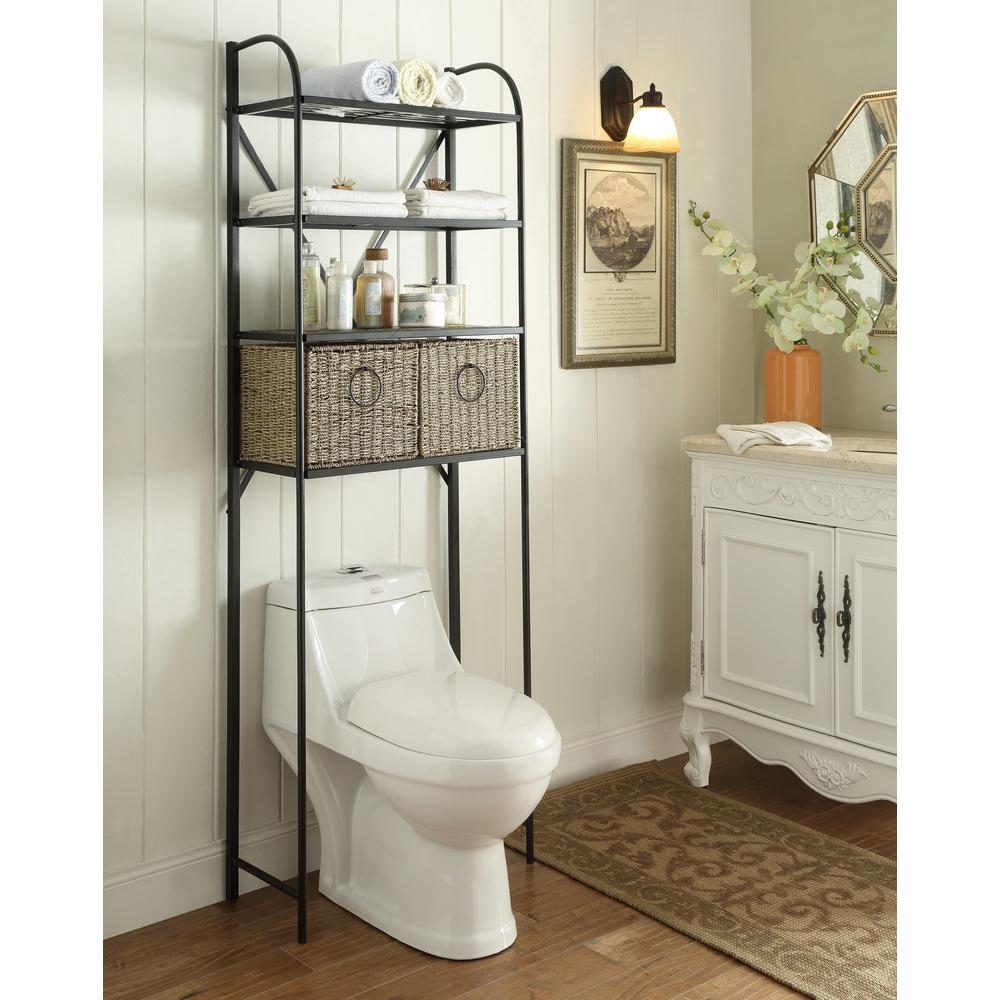 h x 15 in d metal over the toilet storage space saver with 2 woven baskets in brown 603121 the home depot