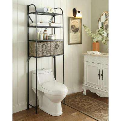 Windsor 24 in. W x 71.5 in. H x 15 in D Metal Over the Toilet Storage Space Saver with 2 Woven Baskets in Brown