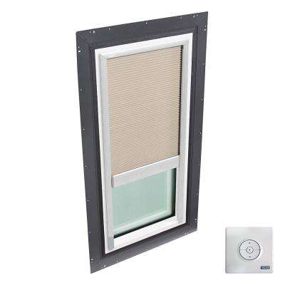 22-1/2 in. x 46-1/2 in. Fixed Self Flashed Skylight w/ Tempered Low-E3 Glass & Solar Powered Light Filtering Blind
