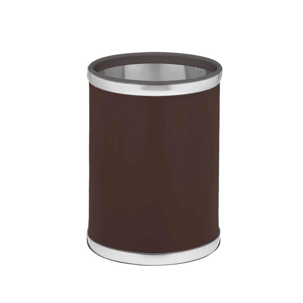 Kraftware Sophisticates 8 Qt. Brown and Brushed Chrome Round Waste Basket
