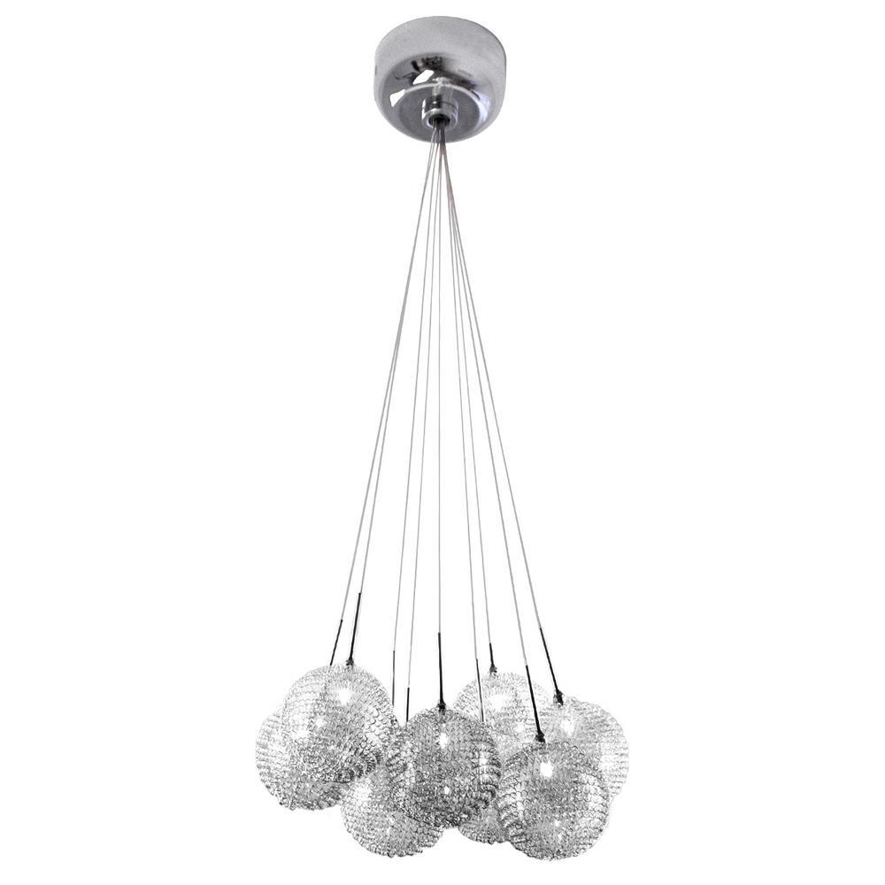 9-Light Chrome Glass Ball Mesh Pendant