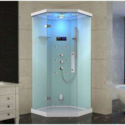 Ovato Alamere 40 in. x 40 in. x 87 in. Neo-Angle Steam Shower Enclosure with 6-Body Jets