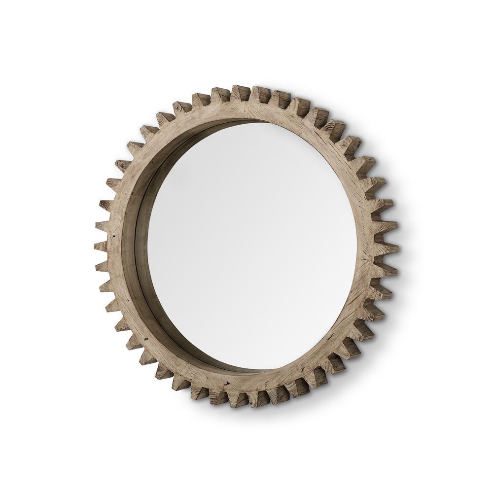 Medium Round Brown Hooks Mirror (35.0 in. H x 35.0 in. W)