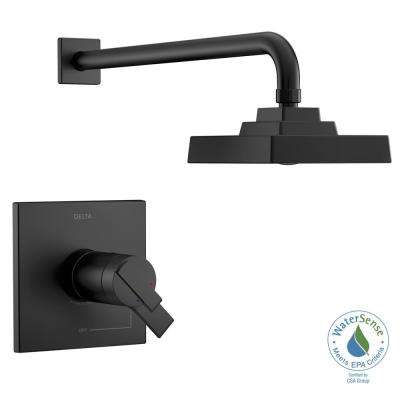 Ara TempAssure 1-Handle Wall-Mount Shower Faucet Trim Kit in Matte Black with H2Okinetic (Valve Not Included)