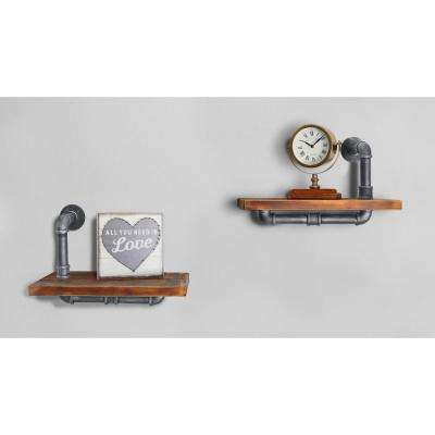 Belfast Industrial Floating Silver Brushed Gray Pipe Wall Shelf with Walnut Wood - Set of 2