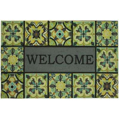 Welcome Bohemian Tiles Gray 23 in. x 35 in. Doorscapes Estate Mat