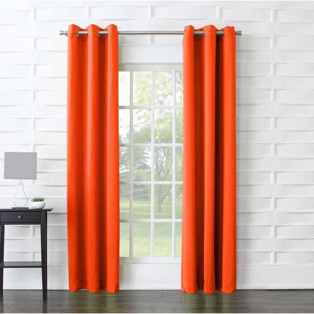 Sun Zero Semi-Opaque Tovi Tangerine Room Darkening Curtain Panel - 40 in. W x 63 in. L
