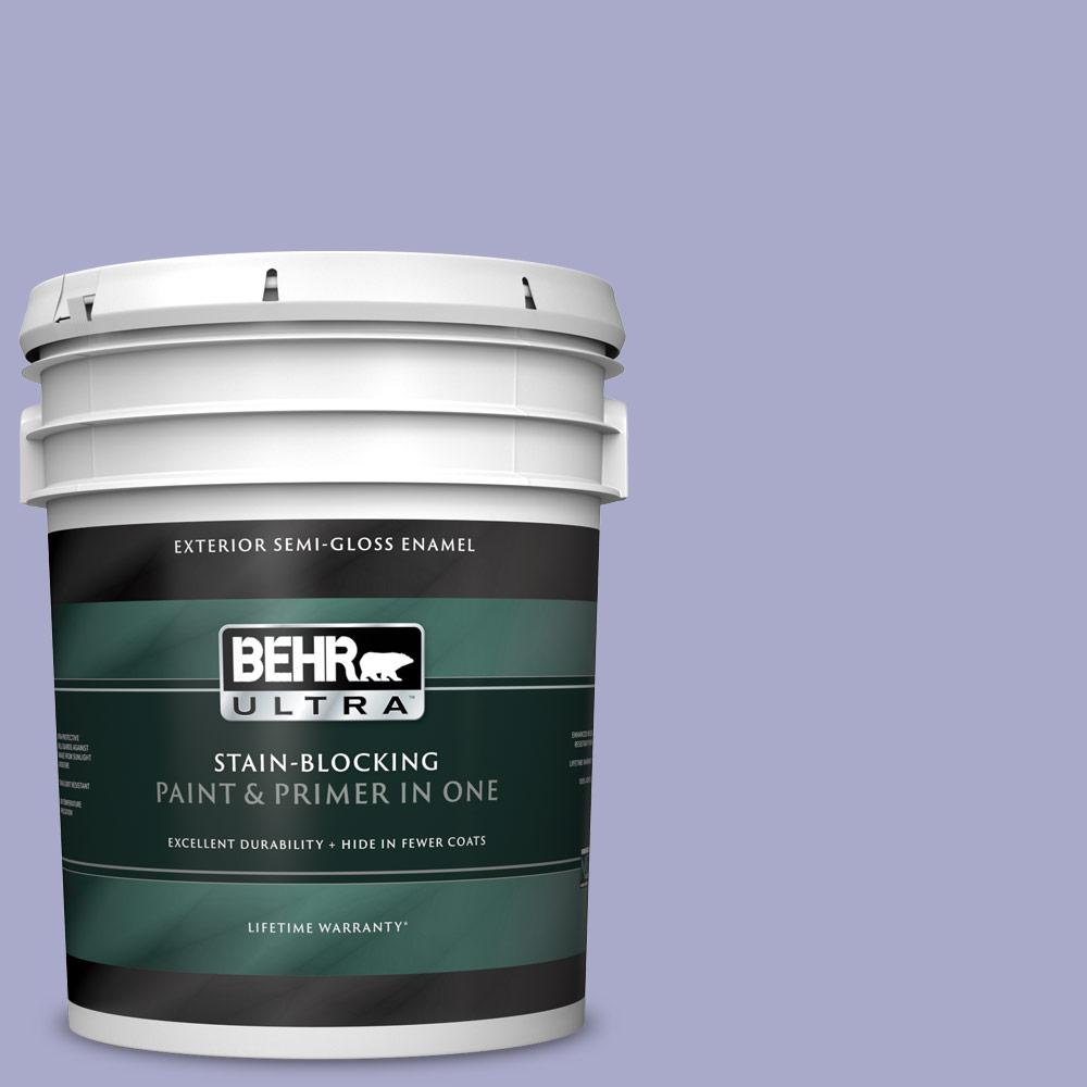Behr Ultra 5 Gal M550 4 Wisteria Blue Semi Gloss Enamel Exterior Paint And Primer In One 585005 The Home Depot