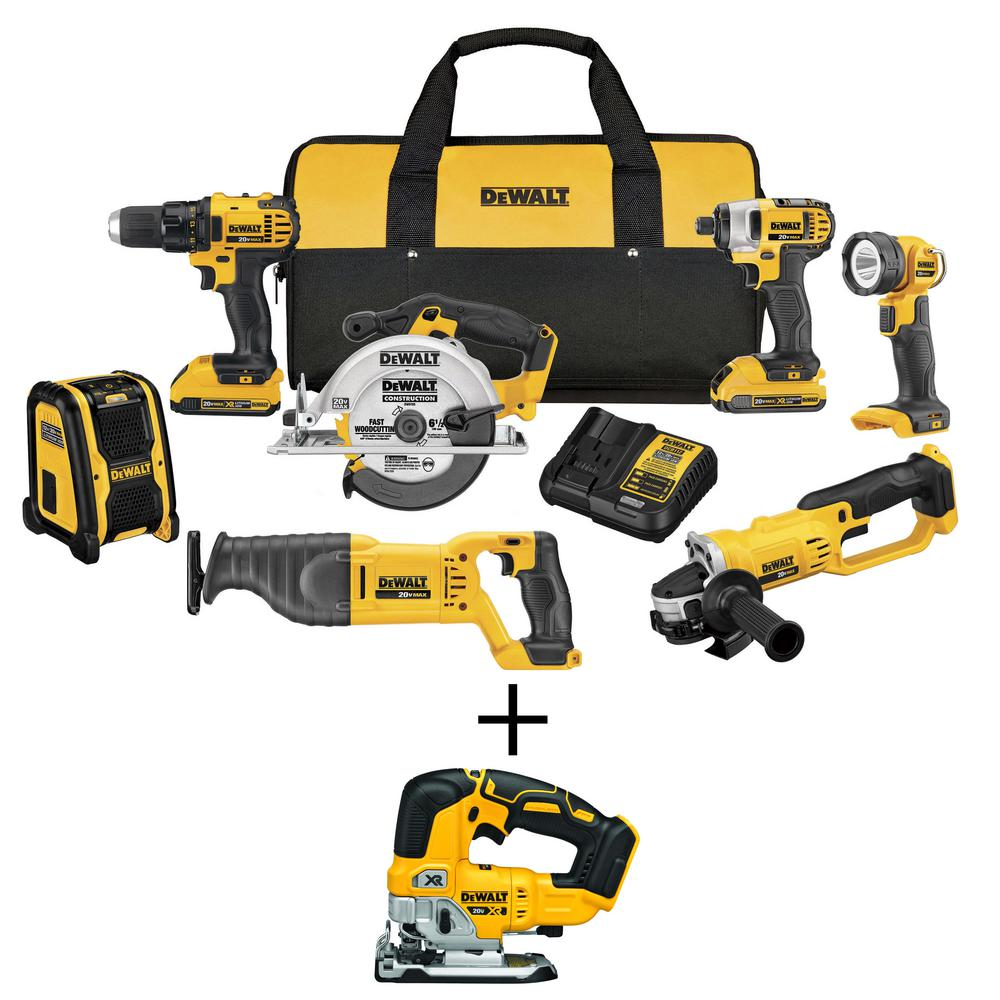 DEWALT 20-Volt MAX Li-Ion Cordless Combo Kit (7-Tool) with Bonus 20-Volt MAX Li-Ion Cordless Brushless Jigsaw (Tool-Only) was $878.0 now $549.0 (37.0% off)