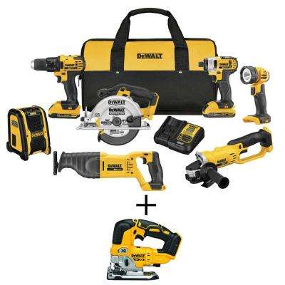 20-Volt MAX Li-Ion Cordless Combo Kit (7-Tool) with Bonus 20-Volt MAX Li-Ion Cordless Brushless Jigsaw (Tool-Only)
