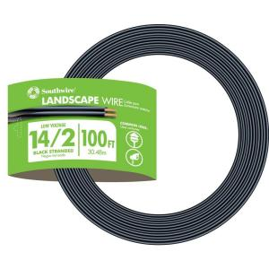 Southwire 100 ft  14/2 Black Stranded CU Low-Voltage Landscape Lighting  Wire-55213243 - The Home Depot