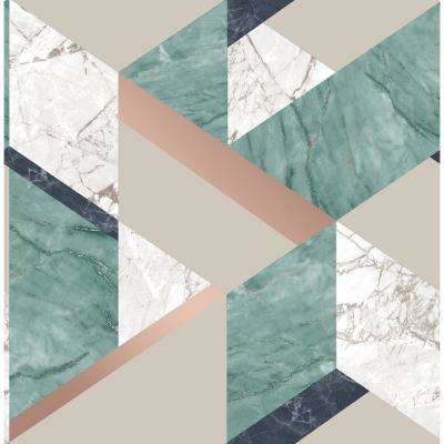 56.4 sq. ft. Elvira Green Marble Geometric Wallpaper