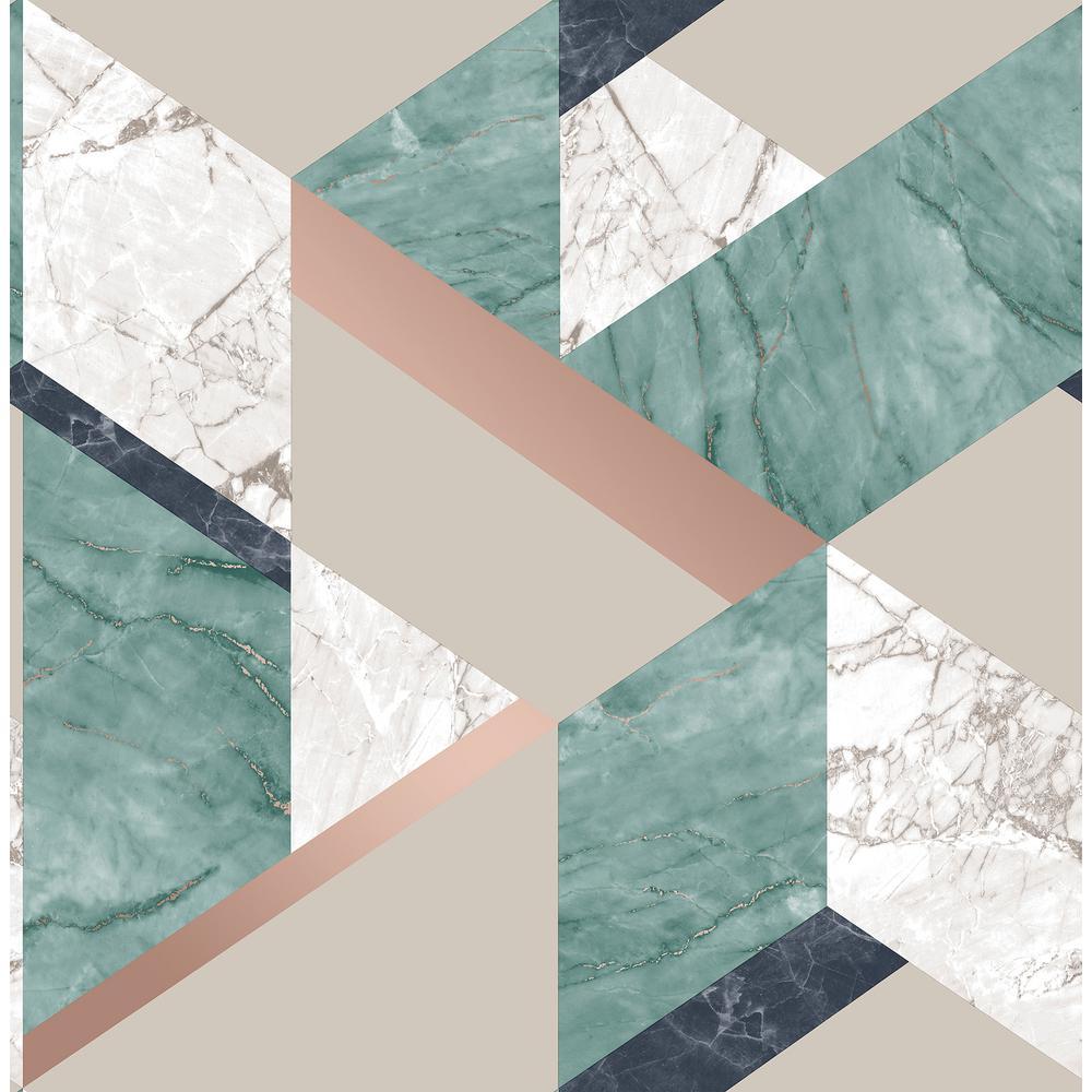 Fine Decor 564 Sq Ft Elvira Green Marble Geometric Wallpaper 2900