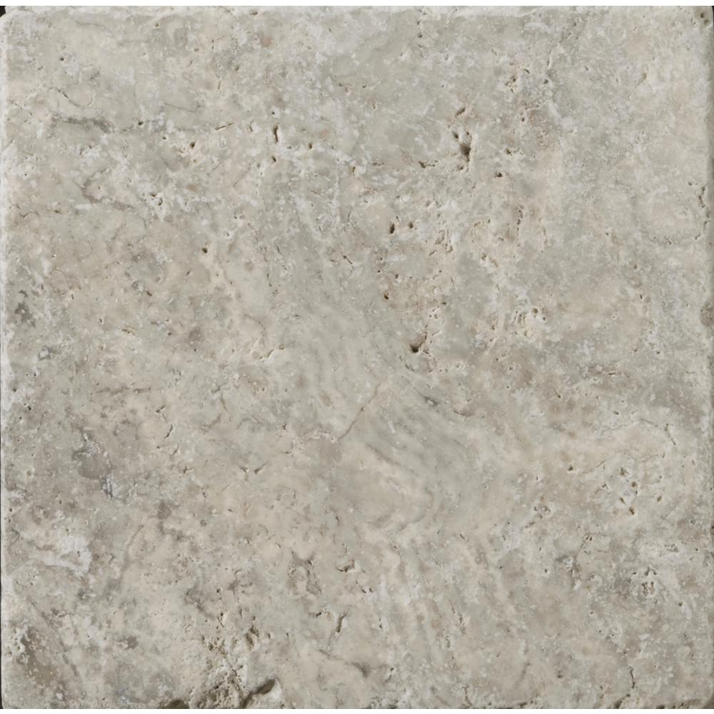 Tumbled Light Beige Stone Effect Travertine Wall Floor: Emser Trav Ancient Tumbled Silver 7.99 In. X 7.99 In