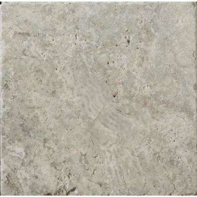 Trav Ancient Tumbled Silver 7.99 in. x 7.99 in. Travertine Wall Tile