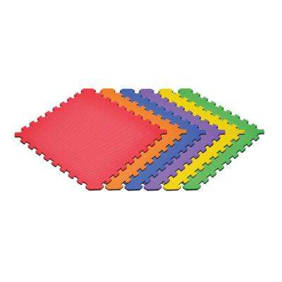 Rainbow Pack/Black 24 in. x 24 in. EVA Foam Truly Reversible Interlocking Tile (54-Tile)