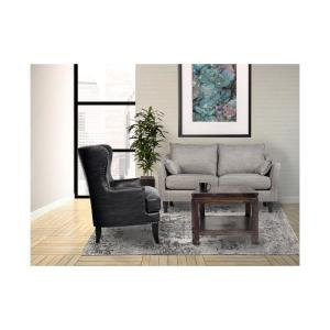 Prime Grant Black High Back Wingback Crackle Leather Accent Chair Pabps2019 Chair Design Images Pabps2019Com
