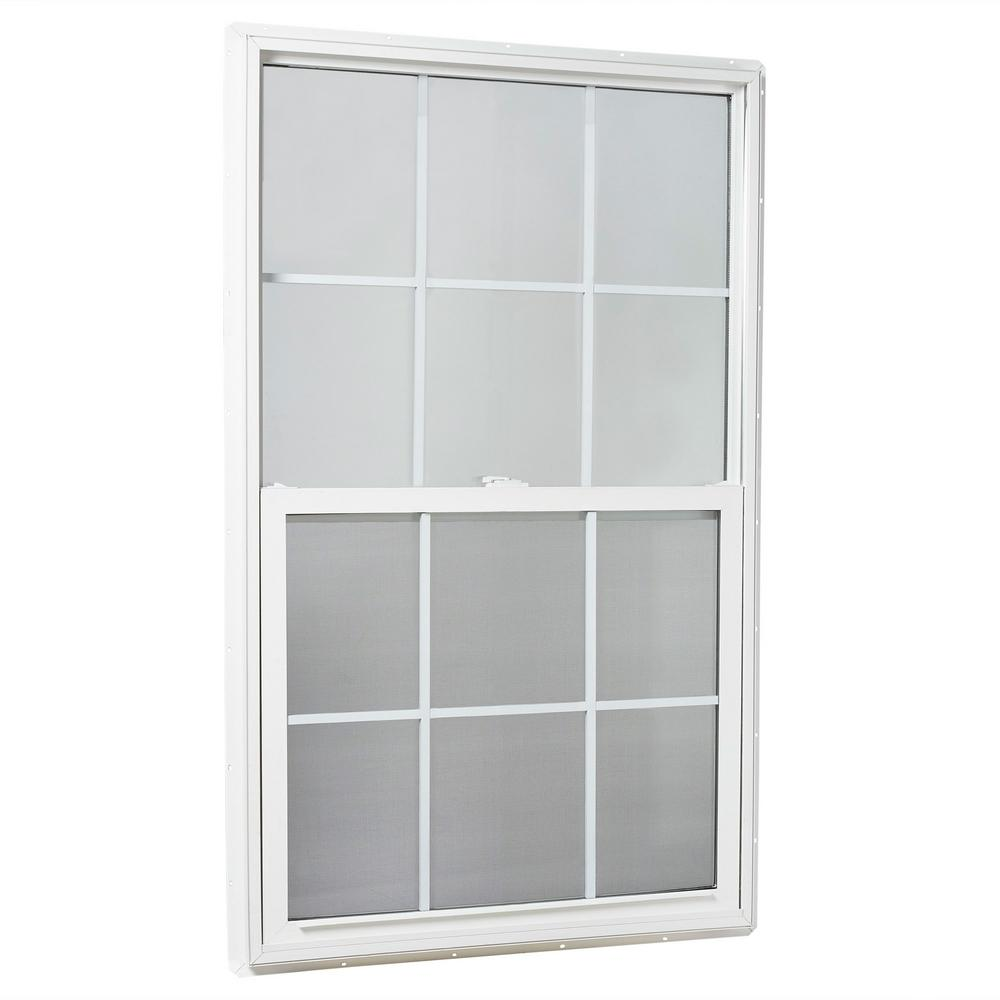TAFCO WINDOWS 35.25 in. x 59.25 in. 25000 Series Single Hung Vinyl Window Insulated with Grids