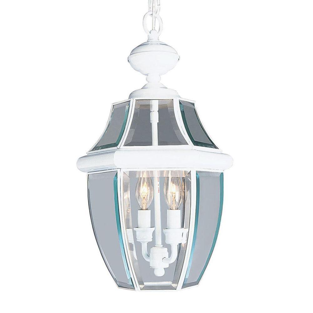 Providence 2 Light Outdoor White Incandescent Pendant Light