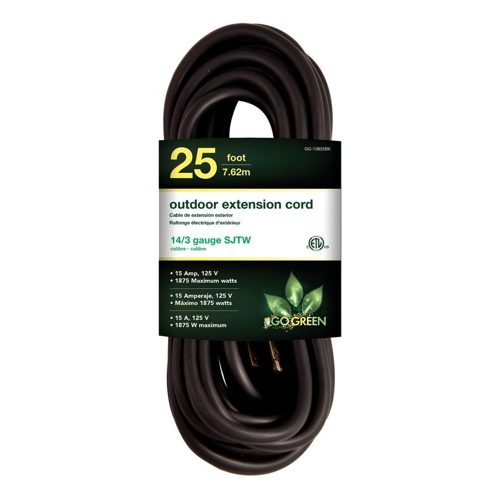 Go Green Power 25 ft. 14/3 SJTW Outdoor Extension Cord, Black