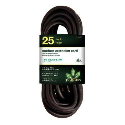 25 ft. 14/3 SJTW Outdoor Extension Cord, Black