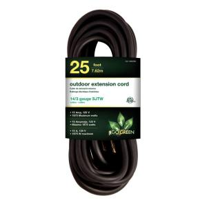 Go Green Power 25 ft. 14/3 SJTW Outdoor Extension Cord, Black by Go Green Power