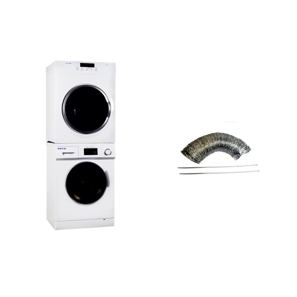 Deco White Laundry Center with 1.6 cu. ft. Washer and 3.5 cu. ft. Electric Standard Dryer Including Inside Vent Kit