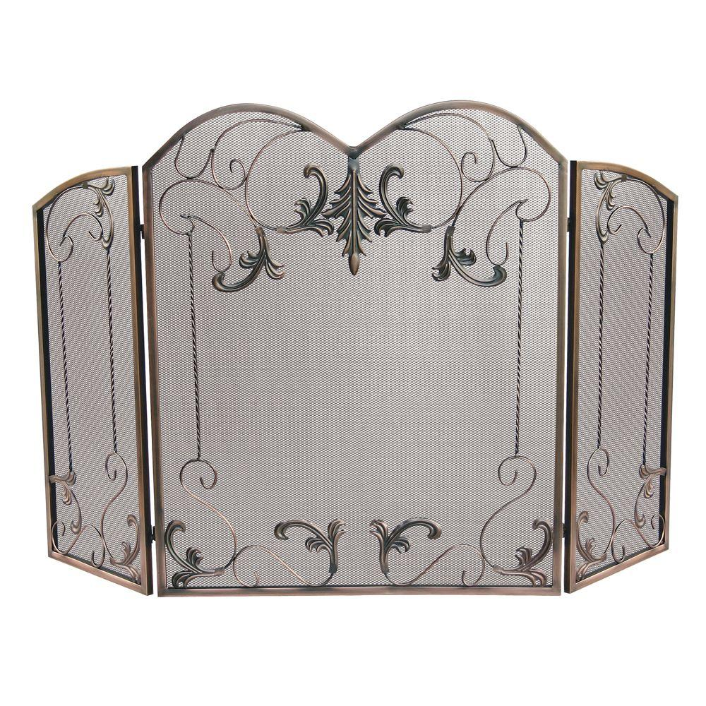 Visit The Home Depot to buy UniFlame 3-Panel Venetian Bronze Fireplace Screen with Leaf Scrolls S-1645
