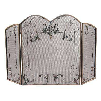 Venetian Bronze 3-Panel Fireplace Screen with Leaf Scrolls