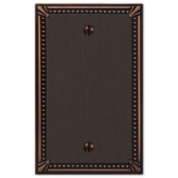 Imperial Bead 1 Gang Blank Metal Wall Plate - Aged Bronze