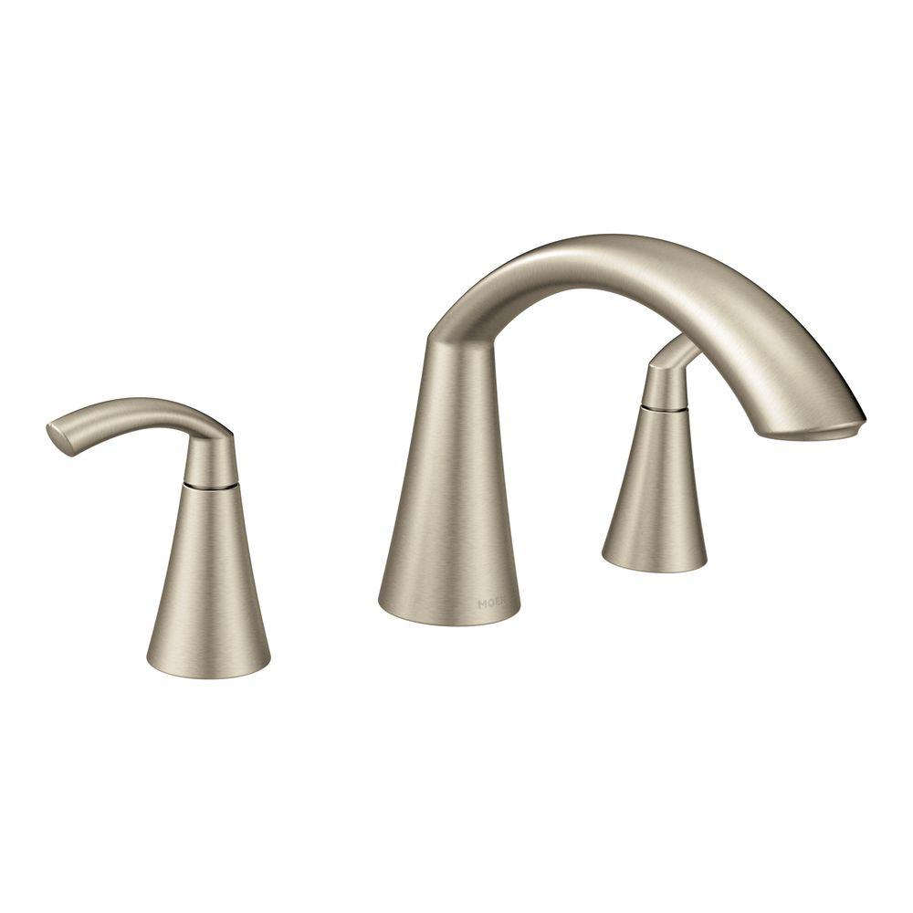 MOEN Glyde 2-Handle High-Arc Roman Tub Faucet in Brushed Nickel ...