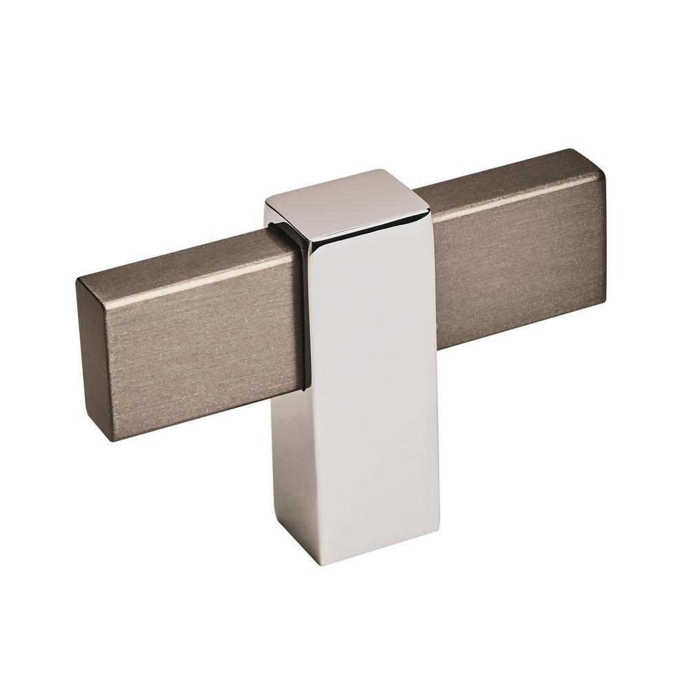Mulino 2-3/8 in. L (60 mm) Black Brushed Nickel/Polished Chrome Drawer Cabinet Knob