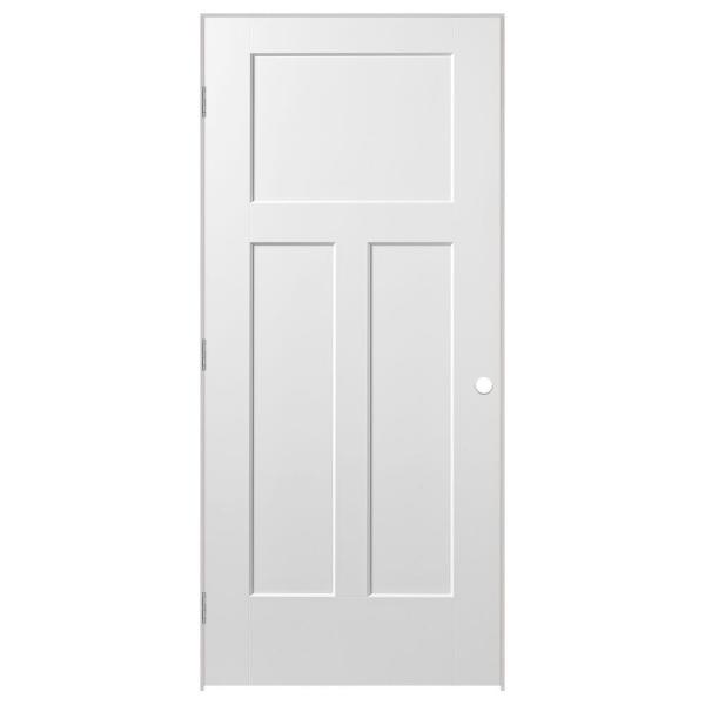 32 in. x 80 in. Winslow 3-Panel Right-Handed Hollow-Core Primed Composite Single Prehung Interior Door