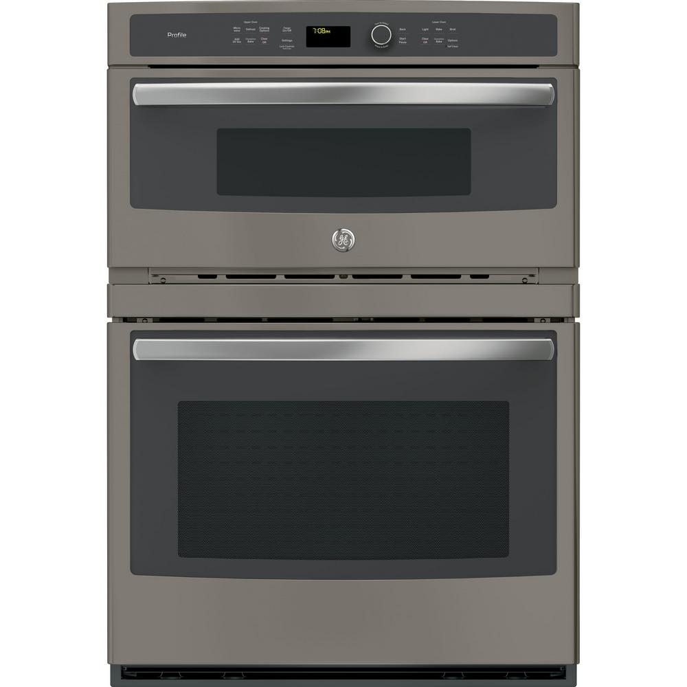 Ge Profile 30 In Double Electric Wall Oven With Convection Self Cleaning And Built In Microwave In Slate Pt7800ekes The Home Depot
