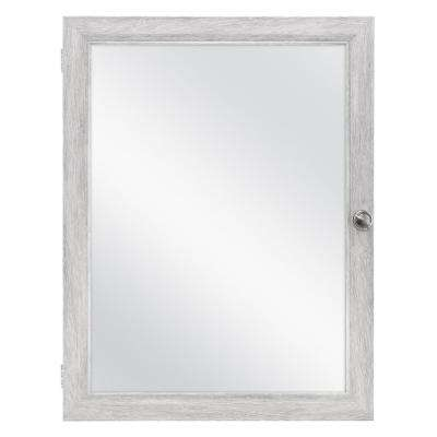 20 in. x 26 in. Recessed or Surface Mount Framed Medicine Cabinet in Gray