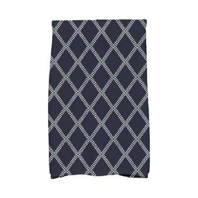 16 in. x 25 in. Navy Blue Diamond Dots Holiday Geometric Print Kitchen Towel