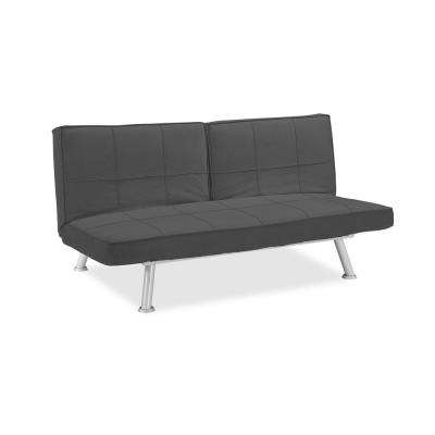 Maxine Microfiber Convertible Sofa with Square Stitching in Charcoal