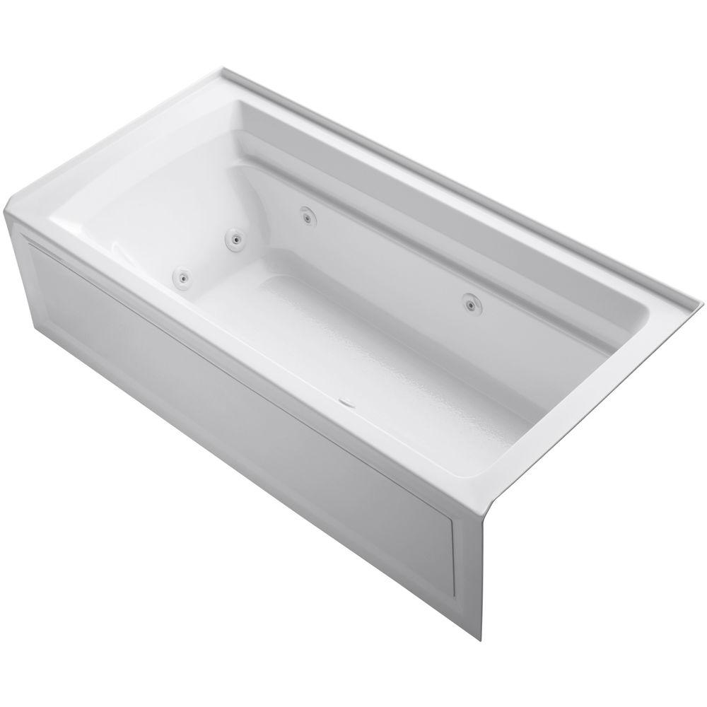 KOHLER Archer 6 ft. Acrylic Right Drain Rectangular Alcove Whirlpool ...
