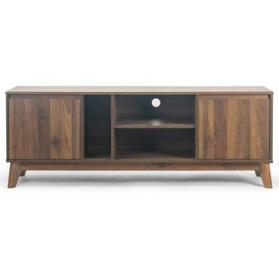 Anshu Walnut TV Stand with 2-Cabinets and Open Shelves