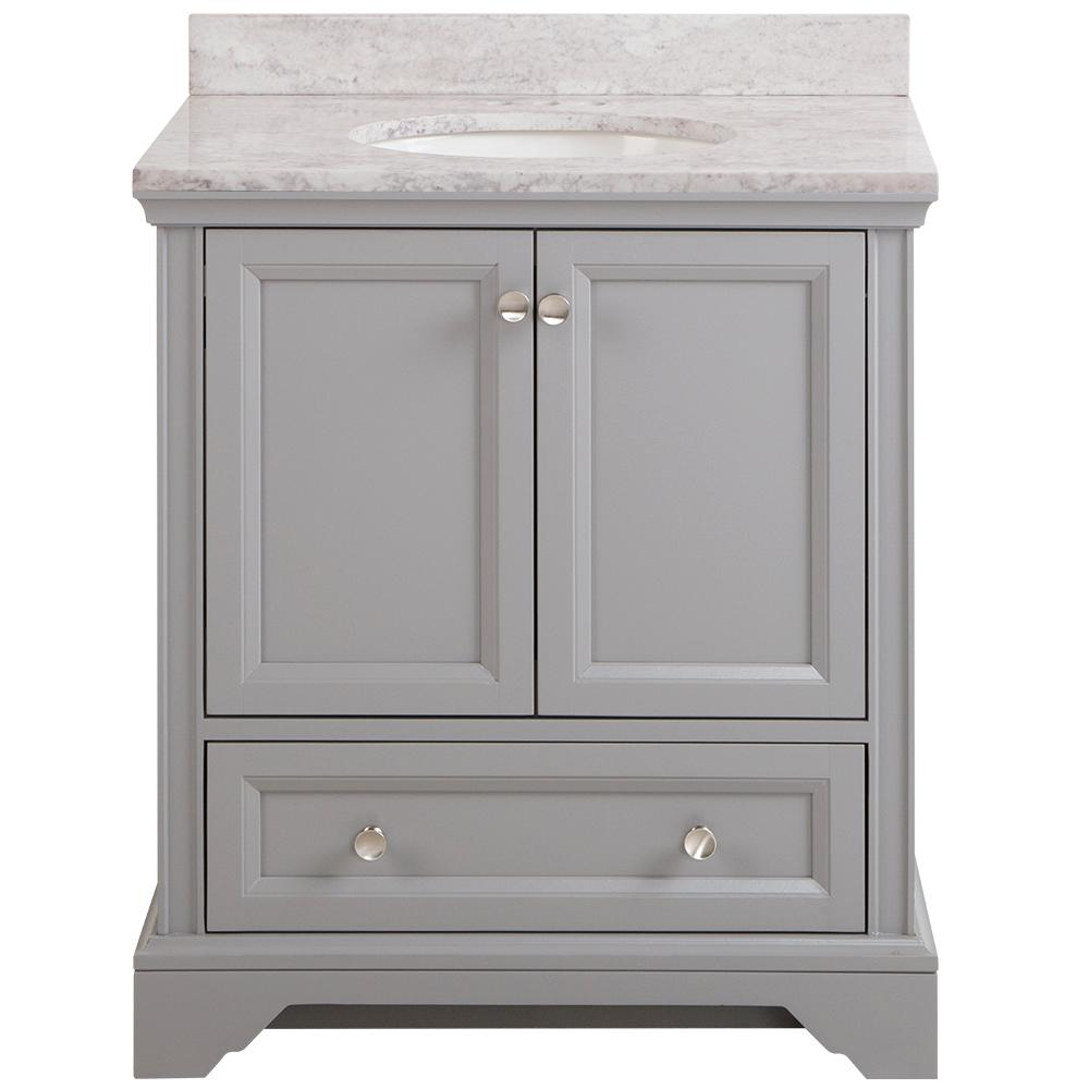 Home Decorators Collection Stratfield 31 in. W x 22 in. D Bath Vanity in Sterling Gray with Stone Effect Vanity Top in Winter Mist with White Sink