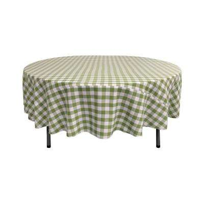 72 in. White and Apple Polyester Gingham Checkered Round Tablecloth