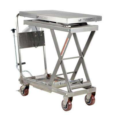 500 lb. 32 x 19.5 in. Partially Stainless Steel Scissor Cart with Scale