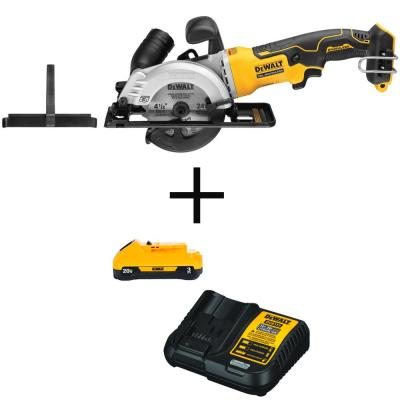ATOMIC 20-Volt MAX Cordless 4-1/2 in. Circular Saw (Tool-Only) with Bonus Li-ion Battery Pack 3.0Ah and charger