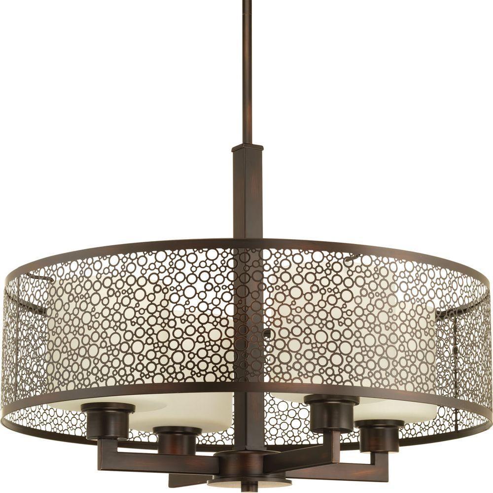 Progress Lighting Mingle Collection 4 Light Antique Bronze Pendant With Natural Parchment Gl