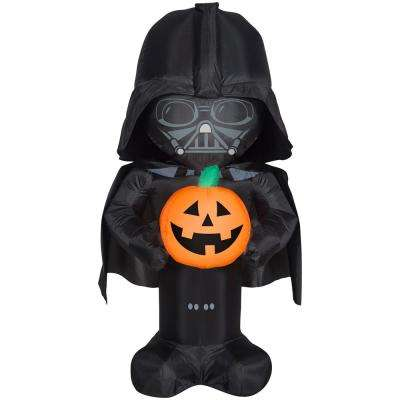 3 5 Ft Pre Lit Inflatable Stylized Darth Vader With Pumpkin Star Wars Air Blown