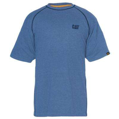 Performance Men's Large Cool Blue Cotton/Polyester Short Sleeved T-Shirt