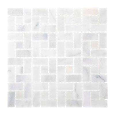 Ice Blocks 12 in. x 12 in. x 10 mm White Marble Mosaic Wall Tile